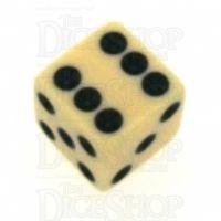 Koplow Opaque Ivory & Black Square Cornered 16mm D6 Spot Dice
