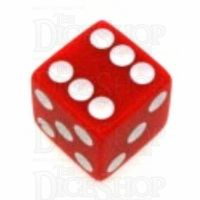 Koplow Opaque Red & White Square Cornered 16mm D6 Spot Dice
