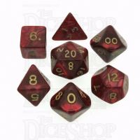 D&G Pearl Red & Gold 7 Dice Polyset