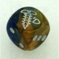 Chessex Gemini Blue & Gold SCREWED Logo D6 Spot Dice
