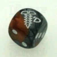 Chessex Gemini Copper & Steel SCREWED Logo D6 Spot Dice