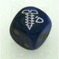 Chessex Gemini Blue & Green SCREWED Logo D6 Spot Dice