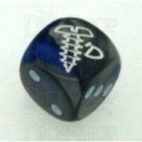 Chessex Gemini Blue & Steel SCREWED Logo D6 Spot Dice