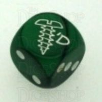 Chessex Gemini Black & Green SCREWED Logo D6 Spot Dice