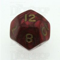 D&G Pearl Red & Gold D12 Dice