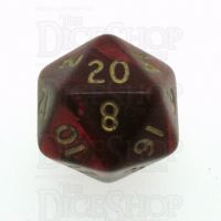 D&G Pearl Red & Gold D20 Dice