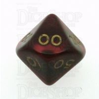 D&G Pearl Red & Gold Percentile Dice