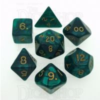 D&G Pearl Green & Gold 7 Dice Polyset