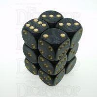 D&G Pearl Black & Gold Pearl 12 x D6 Dice Set
