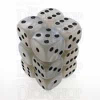 D&G Pearl White & Black 12 x D6 Dice Set