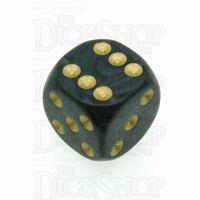 D&G Pearl Black & Gold 16mm D6 Spot Dice