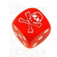 Koplow Opaque Red Pirate Skull & Crossbones Logo D6 Spot Dice