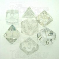 Chessex Translucent Clear & White 7 Dice Polyset