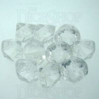 Chessex Translucent Clear & White 10 x D10 Dice Set
