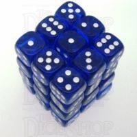 Chessex Translucent Blue & White 36 x D6 Dice Set