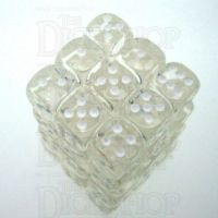 Chessex Translucent Clear & White 36 x D6 Dice Set