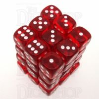 Chessex Translucent Red & White 36 x D6 Dice Set