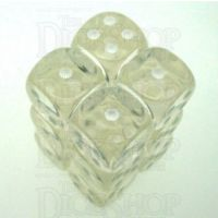 Chessex Translucent Clear & White 12 x D6 Dice Set