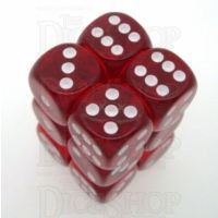 Chessex Translucent Red & White 12 x D6 Dice Set