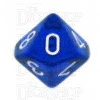Chessex Translucent Blue & White D10 Dice