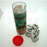 Koplow White & Brown Moose 5 x D6 Spot Dice Game