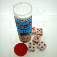 Koplow White & Orange Crab 5 x D6 Spot Dice Game