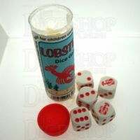 Koplow White & Red Lobster 5 x D6 Spot Dice Game