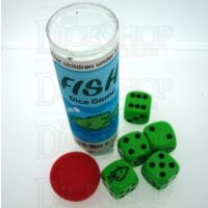 Koplow Green & Black Fish 5 x D6 Spot Dice Game