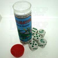 Koplow White & Green Alligator 5 x D6 Spot Dice Game