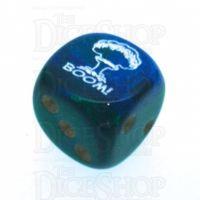 Chessex Gemini Blue & Gold BOOM Logo D6 Spot Dice