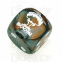 Chessex Gemini Copper & Steel BOOM Logo D6 Spot Dice