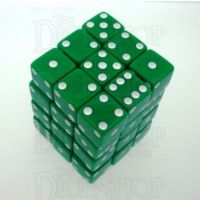 Koplow Opaque Green & White Square Cornered 36 x D6 Dice Set