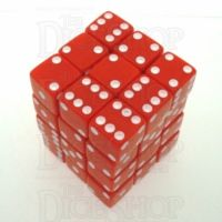 Koplow Opaque Red & White Square Cornered 36 x D6 Dice Set