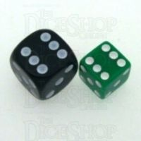 Koplow Opaque Green & White Square Cornered 12mm D6 Spot Dice