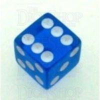 Koplow Transparent Blue Square Cornered 16mm D6 Spot Dice