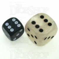 D&G Pearl White & Black JUMBO 22mm D6 Spot Dice