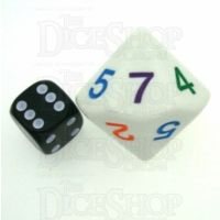 Koplow Opaque White & Multi JUMBO D7 Dice