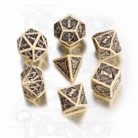Q Workshop Celtic 3D Ivory & Black 7 Dice Polyset