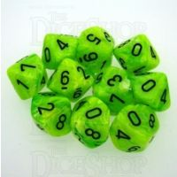Chessex Vortex Bright Green 10 x D10 Dice Set