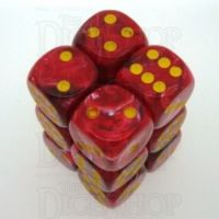 Chessex Vortex Red & Yellow 12 x D6 Dice Set - Discontinued