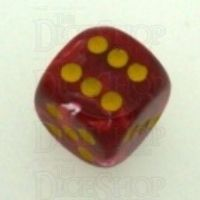 Chessex Vortex Red & Yellow 16mm D6 Spot Dice - Discontinued