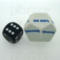 Koplow White & Blue Place Value 1's to 100K JUMBO 28mm D12 Dice