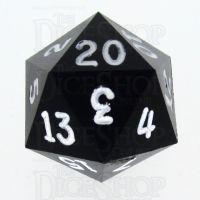 GameScience Opaque Coal Black & White Ink D20 Dice