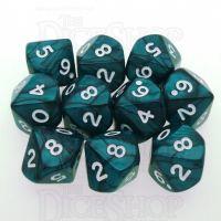 Koplow Pearl Emerald 10 x D10 Dice Set