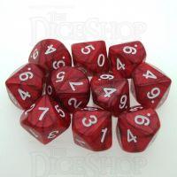 Koplow Pearl Red 10 x D10 Dice Set