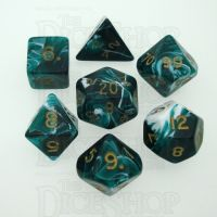 D&G Marble Green & White 7 Dice Polyset