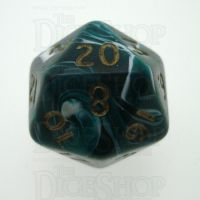 D&G Marble Green & White D20 Dice