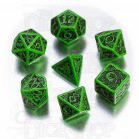 Q Workshop Celtic 3D Green & Black 7 Dice Polyset