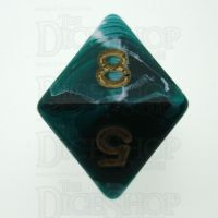 D&G Marble Green & White D8 Dice