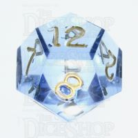 GameScience Gem Ice Blue Moonstone & Gold Ink D12 Dice